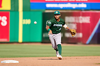Daytona Tortugas second baseman Brandon Leyton (5) flips the ball to the shortstop during a game against the Clearwater Threshers on June 24, 2021 at BayCare Ballpark in Clearwater, Florida.  (Mike Janes/Four Seam Images)