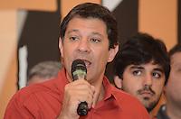 ATENCAO EDITOR: FOTO EMBARGADA PARA VEICULOS INTERNACIONAIS. SAO PAULO, 25 DE OUTUBRO DE 2012 - ELEICOES 2012 HADDAD - O candidato eleito Fernando Haddad durante cerimonia de comemoracao da vitoria, junto com lideranca do Partido dos Trabalhadores, no Hotel Intercontinental, na noite deste domingo, 28.. FOTO: ALEXANDRE MOREIRA - BRAZIL PHOTO PRESS