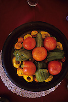 Ourika Valley, near Marrakech, Morocco - Tajjine, a Traditional Moroccan Lunch of Tomatoes, Squash, Onions, Carrots, Green Peppers.