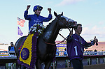 DEL MAR, CA - NOVEMBER 04: Mickael Barzalona, aboard Talismanic #1 celebrates after winning the Longines Breeders' Cup Turf race on Day 2 of the 2017 Breeders' Cup World Championships at Del Mar Racing Club on November 4, 2017 in Del Mar, California. (Photo by Bob Mayberger/Eclipse Sportswire/Breeders Cup)