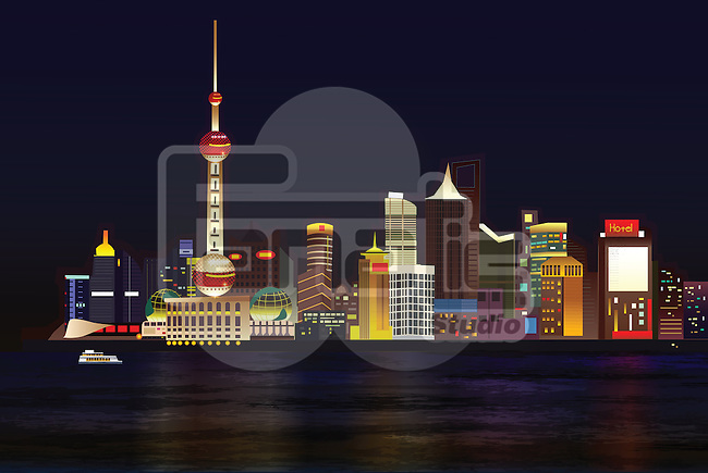 Illustration of Oriental Pearl Tower and buildings at The Bund