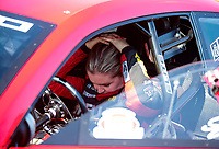 Sep 2, 2019; Clermont, IN, USA; NHRA pro stock driver Erica Enders reacts after losing in the final round of the US Nationals at Lucas Oil Raceway. Mandatory Credit: Mark J. Rebilas-USA TODAY Sports