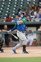 Left fielder Eric Cole (3) of the Lexington Legends bats in a game against Columbia Fireflies on Thursday, June 13, 2019, at Segra Park in Columbia, South Carolina. Lexington won, 10-5. (Tom Priddy/Four Seam Images)