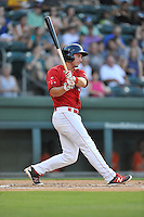Second baseman Mitchell Gunsolus (22) of the Greenville Drive bats in a game against the Greensboro Grasshoppers on Thursday, July 14, 2016, at Fluor Field at the West End in Greenville, South Carolina. Greenville won, 3-1. (Tom Priddy/Four Seam Images)