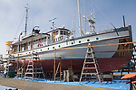 MV Westward, Pacific Catalyst II, small ship cruises, on the hard, Port Townsend, Boat Haven Marina, boat designed by Ted Geary, June 25 2020,