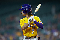 Giovanni DiGiacomo (7) of the LSU Tigers at bat against the Oklahoma Sooners in game seven of the 2020 Shriners Hospitals for Children College Classic at Minute Maid Park on March 1, 2020 in Houston, Texas. The Sooners defeated the Tigers 1-0. (Brian Westerholt/Four Seam Images)