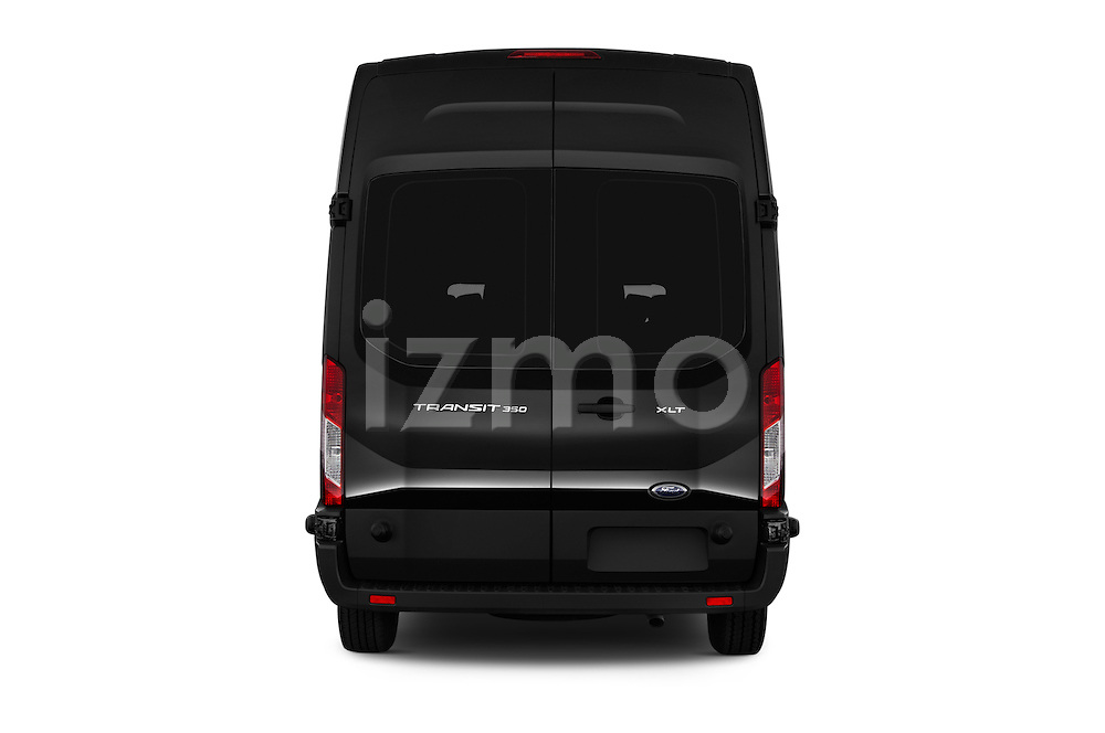 Straight rear view of 2016 Ford Transit 350-XLT-Wagon-High-Roof-Pass-Slide-148WB 4 Door Passenger Van Rear View  stock images
