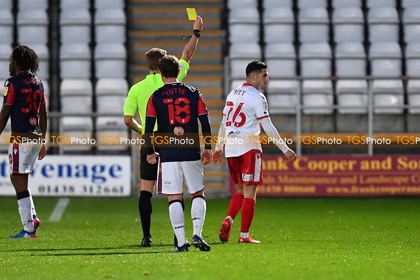 Tom Pett of Stevenage FC Receives a Yellow Card during Stevenage vs Bolton Wanderers, Sky Bet EFL League 2 Football at the Lamex Stadium on 21st November 2020