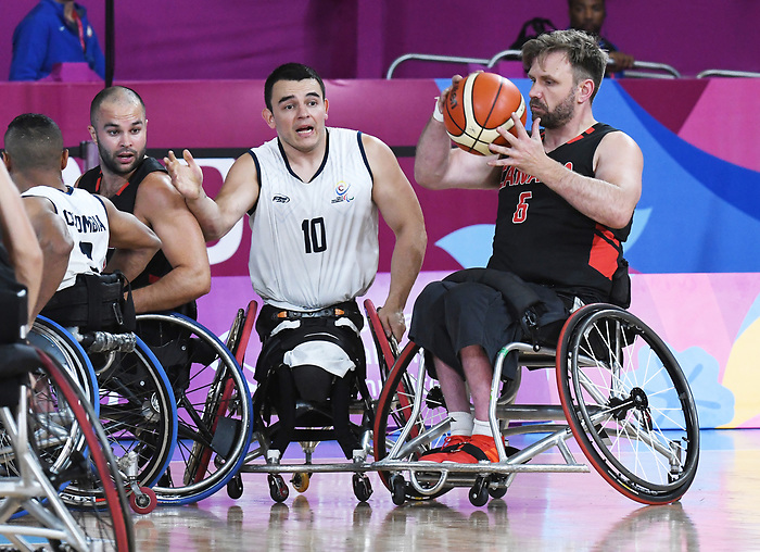 Bo Hedges, Lima 2019 - Wheelchair Basketball // Basketball en fauteuil roulant.<br /> Men's wheelchair basketball competes against Columbia // Le basketball en fauteuil roulant masculin contre Colombie. 25/08/2019.