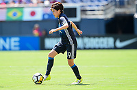 San Diego, CA - Sunday July 30, 2017: Hikaru Kitagawa during a 2017 Tournament of Nations match between the women's national teams of the Australia (AUS) and Japan (JAP) at Qualcomm Stadium.