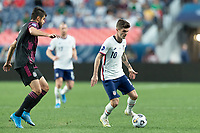 DENVER, CO - JUNE 6: Christian Pulisic #10 of the United States moves with the ball during a game between Mexico and USMNT at Mile High on June 6, 2021 in Denver, Colorado.