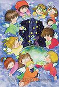 Interlitho, Soledad, CHRISTMAS CHILDREN, naive, paintings, Holy Family kids, stars(KL2322,#XK#) Weihnachten, Navidad, illustrations, pinturas