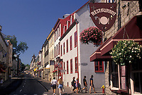 AJ2945, Quebec City, Quebec, Canada, Restaurants and boutiques along Rue Saint Louis in Old Quebec City in the Province of Quebec, Canada.