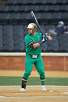 Niko Kavadas (12) of the Notre Dame Fighting Irish at bat against the Wake Forest Demon Deacons at David F. Couch Ballpark on March 10, 2019 in  Winston-Salem, North Carolina. The Fighting Irish defeated the Demon Deacons 8-7 in 10 innings in game two of a double-header. (Brian Westerholt/Four Seam Images)