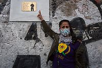"Rome, Italy. 23rd Apr, 2021. Today, Azione Antifascista Roma Est, supported by ANPI (Associazione Nazionale Partigiani d'Italia ANPI - National Association of Italian Partizans, Members of the Italian Resistance in WWII) Centocelle and the Kurdish Community (Rete Kurdistan Roma and Ararat Kurdish Cultural Centre), held a demonstration (1.) to commemorate the second anniversary of the death of Lorenzo ""Orso"" Orsetti, the Italian citizen who died the 18th of March 2019 in the North of Syria / Rojava while fighting against ISIS along with the Kurdish forces. At the end of the demo a memorial plaque was installed in Camelie's Square which says: ""Ogni tempesta comincia con una singola goccia. Cercate di essere voi quella goccia"" (Every storm begins with a single drop. Try to be that drop). <br /> <br /> Footnotes & Links:<br /> 1. http://bit.do/fQAAU <br /> (Source, Wikipedia.org ENG) https://en.wikipedia.org/wiki/Lorenzo_Orsetti"