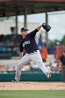 New York Yankees relief pitcher Drew Hutchison (39) delivers a pitch during a Grapefruit League Spring Training game against the Detroit Tigers on February 27, 2019 at Publix Field at Joker Marchant Stadium in Lakeland, Florida.  Yankees defeated the Tigers 10-4 as the game was called after the sixth inning due to rain.  (Mike Janes/Four Seam Images)