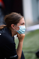 A Spark staffer with a face mask during the first international women's T20 cricket match between the New Zealand White Ferns and England at Sky Stadium in Wellington, New Zealand on Wednesday, 3 March 2021. Photo: Dave Lintott / lintottphoto.co.nz