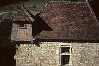 Europe/France/Midi-Pyrénées/46/Lot/Vallée du Lot/Saint-Cirq-Lapopie: Détail d'une maison quercynoise<br /> PHOTO D'ARCHIVES // ARCHIVAL IMAGES<br /> FRANCE 1990