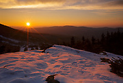 Sunset from Bald Mountain in Franconia, New Hampshire USA. This mountain offers views of Cannon Mountain, and it is a great spot to enjoy the sunset.