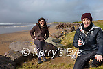 Researchers for the 'Llŷn Iveragh Ecomuseums' project working on the Iveragh Peninsula pictured here at the Inny Strand, Waterville l-r; Anna Collyer & Fiach Byrne.