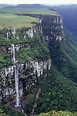 Fortaleza, Rio Grande do Sul State, Brazil. Spectacular view of the canyon; small waterfall.