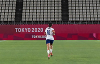 KASHIMA, JAPAN - AUGUST 2: Carli Lloyd #10 of the USWNT runs on the field after a game between Canada and USWNT at Kashima Soccer Stadium on August 2, 2021 in Kashima, Japan.