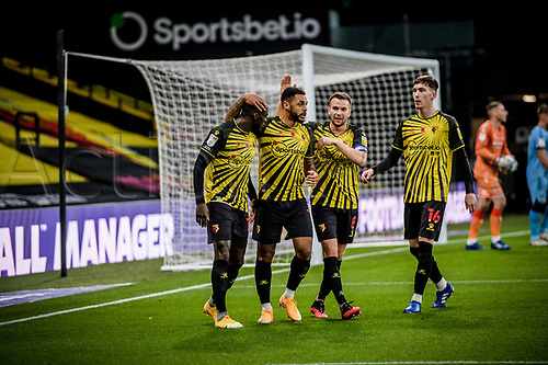 7th November 2020; Vicarage Road, Watford, Hertfordshire, England; English Football League Championship Football, Watford versus Coventry City; Andre Gray opens the scoring for Watford for 1-0 in the 54th minute