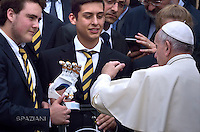 Pope Francis (bionic hand) during his weekly general audience in St. Peter square at the Vatican, Wednesday.May 11 2016.