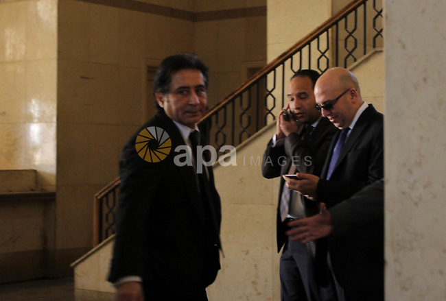 """Egyptian businessman Ahmed Ezz is brought to the Court before his trial, in a case known in media as """"Iron permits"""", in Cairo on March 03, 2015. According to prosecutors, Ezz, a close ally of former President Hosni Mubarak and a former leading official at his dissolved National Democratic Party, drew illegitimate gains worth 660 million. Photo by Amr Sayed"""
