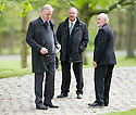 Former players Gordon McQueen and Danny McGrain leave Mortonhall Crematorium after the funeral service for Sandy Jardine.