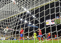 Colombia forward Daryo Moreno (17) celebrates by kicking the ball in the net after a goal by defender Frank Fabra (18) during the first half of Copa America Centenario group A match, Saturday, June 11, 2016 in Houston, Tex. Costa Rica won 3-2. (TFV Media via AP) *Mandatory Credit*