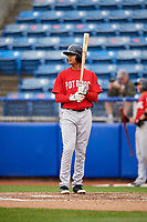 Potomac Nationals center fielder Blake Perkins (22) at bat during the first game of a doubleheader against the Salem Red Sox on June 11, 2018 at Haley Toyota Field in Salem, Virginia.  Potomac defeated Salem 9-4.  (Mike Janes/Four Seam Images)