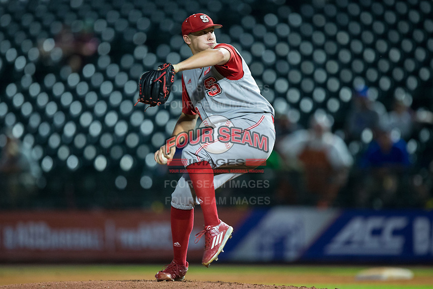 North Carolina State Wolfpack relief pitcher Austin Staley (20) in action against the North Carolina Tar Heels in Game Twelve of the 2017 ACC Baseball Championship at Louisville Slugger Field on May 26, 2017 in Louisville, Kentucky.  The Tar Heels defeated the Wolfpack 12-4 to advance to the semi-finals.  (Brian Westerholt/Four Seam Images)