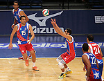 Puerto Rico's Jackson Rivera passes against Dominican Republic during the Pan American Cup at the Reno Events Center in Reno, Nev., on Monday, Aug. 17, 2015. <br /> Photo by Cathleen Allison