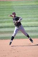 Brooks Lee (22) of the Cal Poly San Luis Obispo Mustangs takes infield before a game against the UC Santa Barbara Gauchos at Caesar Uyesaka Stadium on April 30, 2021 in Santa Barbara, California. (Larry Goren/Four Seam Images)