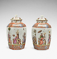 BNPS.co.uk (01202 558833)<br /> Pic: Sotheby's/BNPS<br /> <br /> Pictured: Unique pair of Meissen Augustus Rex hexagonal vases and covers has sold for £277,000.<br /> <br /> A stunning collection of German porcelain that was found by the so-called Monuments Men before it could be destroyed by the Nazis has sold 76 years later for over £10m.<br /> <br /> The hoard of Meissen antiques that was seized by the Third Reich during the Second World War was discovered in a salt mine in Austria in 1945.<br /> <br /> It had been amassed years earlier by German-Jewish industrialist Dr Franz Oppenheimer and his wife Margarethe.