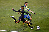 COLUMBUS, OH - DECEMBER 12: Luis Diaz #12 of Columbus Crew battles for the ball against Shane O'Neill #27 of Seattle Sounders FC during a game between Seattle Sounders FC and Columbus Crew at MAPFRE Stadium on December 12, 2020 in Columbus, Ohio.