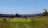 140719 | The 148th Open - Sunday Practice<br /> <br /> Tiger Woods playing into the 18th green during practice for the 148th Open Championship at Royal Portrush Golf Club, County Antrim, Northern Ireland. Photo by John Dickson - DICKSONDIGITAL