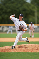 GCL Yankees East relief pitcher Dalton Higgins (58) delivers a pitch during the first game of a doubleheader against the GCL Blue Jays on July 24, 2017 at the Yankees Minor League Complex in Tampa, Florida.  GCL Blue Jays defeated the GCL Yankees East 6-3 in a game that originally started on July 8th.  (Mike Janes/Four Seam Images)