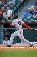 Syracuse Chiefs left fielder Alejandro De Aza (30) bats during a game against the Buffalo Bisons on July 3, 2017 at Coca-Cola Field in Buffalo, New York.  Buffalo defeated Syracuse 6-2.  (Mike Janes/Four Seam Images)