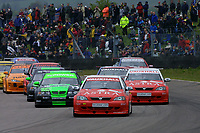 Round 3 of the 2002 British Touring Car Championship. Race start. #2 Yvan Muller (FRA). Vauxhall Motorsport. Vauxhall Astra Coupé.