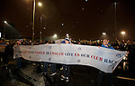 Rangers fans protesting outside the front door of Ibrox before the match