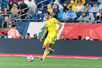 FOXBOROUGH, MA - AUGUST 4: Jack Maher #5 of Nashville SC passes the ball during a game between Nashville SC and New England Revolution at Gillette Stadium on August 4, 2021 in Foxborough, Massachusetts.