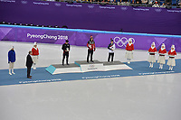 OLYMPIC GAMES: PYEONGCHANG: 17-02-2018, Gangneung Ice Arena, Short Track, Final results 1000m Men, John-Henry Krueger (USA), Samuel Girard (CAN), Seo Yi-ra (KOR), ©photo Martin de Jong