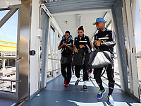 Wednesday 07 August 2013<br /> Pictured L-R: Michel Vorm, Chico Flores and Jonathan de Guzman arriving at Malmo Airport<br /> Re: Swansea City FC travelling to Sweden for their Europa League 3rd Qualifying Round, Second Leg game against Malmo.