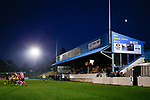 The half Moon rising over the Jamie Vardy Stand. Stocksbridge Park Steels v Pickering Town, Evo-Stik East Division, 17th November 2018. Stocksbridge Park Steels were born from the works team of the local British Steel plant that dominates the town north of Sheffield.<br /> Having missed out on promotion via the play offs in the previous season, Stocksbridge were hovering above the relegation zone in Northern Premier League Division One East, as they lost 0-2 to Pickering Town. Stocksbridge finished the season in 13th place.