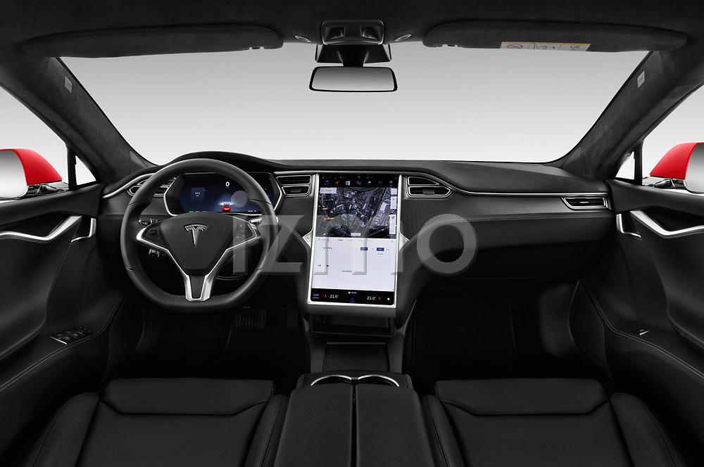 Stock photo of straight dashboard view of a 2017 Tesla Model S 100D 5 Door Hatchback