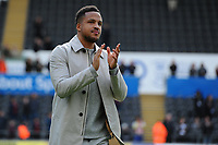 Martin Olsson of Swansea City applauds the fans at the final whistle during the Sky Bet Championship match between Swansea City and Hull City at the Liberty Stadium in Swansea, Wales, UK. Saturday 27 April 2019