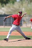 Dakota Robinson #44 of the Los Angeles Angels plays in a minor league spring training game against the Colorado Rockies at the Angels minor league complex on March 23, 2011  in Tempe, Arizona. .Photo by:  Bill Mitchell/Four Seam Images.