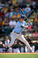 Tampa Bay Rays second baseman Nick Franklin (2) at bat during a Spring Training game against the Pittsburgh Pirates on March 10, 2017 at LECOM Park in Bradenton, Florida.  Pittsburgh defeated New York 4-1.  (Mike Janes/Four Seam Images)